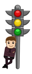 Cartoon Vector - Man Standing with Traffic Light