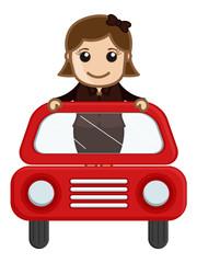 Cartoon Vector - Girl in Red Car
