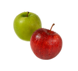 Two apples red and green