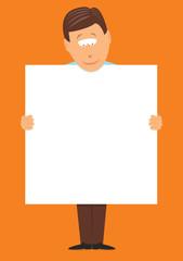 Man holding a big blank sign