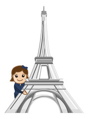 Travel Paris - Concept Cartoon
