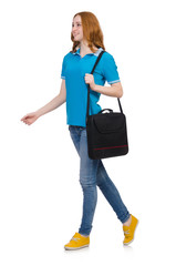 Woman with backpack isolated on white