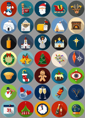 Set of 35 Christmas and New Year  Icons