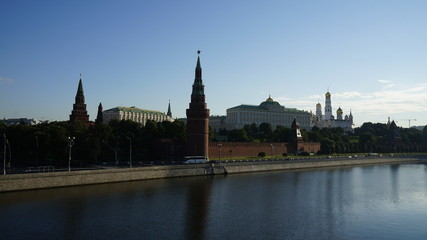 View of the Moscow Kremlin summer morning, timelaps.
