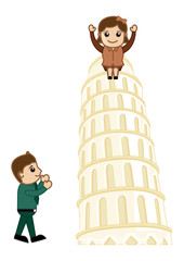 Visit Tower of Pisa - Vector Cartoon