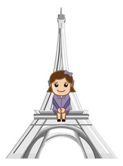 Sitting on Eiffel Tower - Cartoon