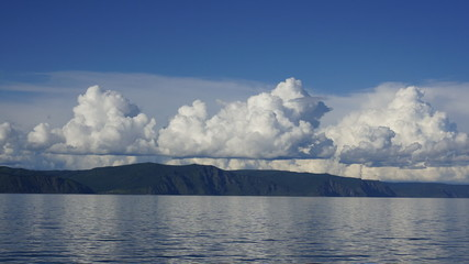 Clouds over lake Baikal. Timelaps.