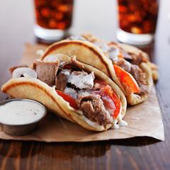 greek gyros with tzatkiki sauce and fries