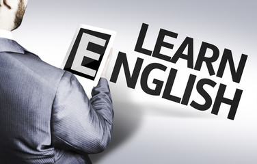 Business man with the text Learn English