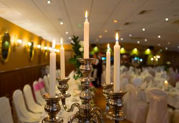 Candles in luxury restaurant.