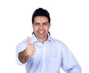 Smiling man showing thumb up sign, isolated on white background