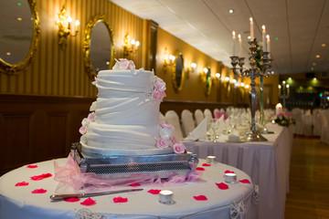 Wedding cake in the restaurant