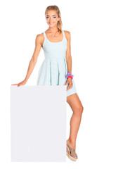 Young woman standing near blank board banner ,isolated on white