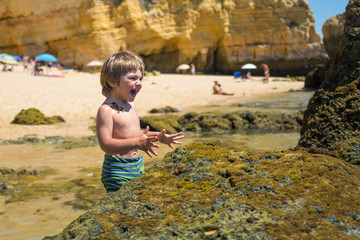 Boy having fun on the beach