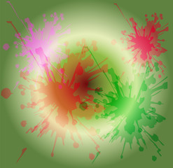 Watercolor paint splash on circle light green background