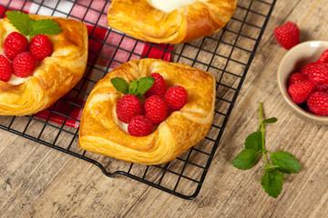 Raspberry pastries. Selective focus.