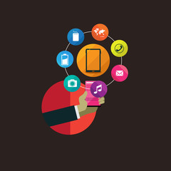 flat design concept icons for web and mobile phone services