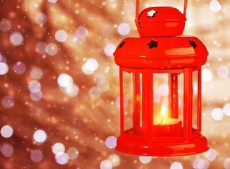 Red antique Christmas lamp