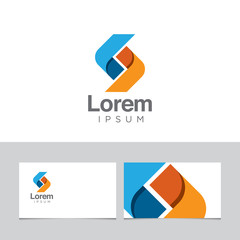 Logo design element with business card template 07