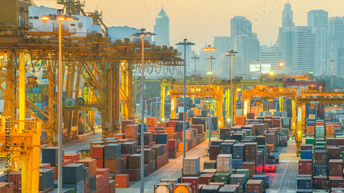 Containers at Bangkok commercial port - 70743886