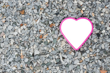 Abstract white heart on breccia background