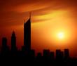 Dubai city at night Sheikh Zayed road at sunset