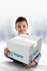 Boy holding a cardboard box on which was written Register