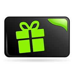 cadeau sur bouton web rectangle vert