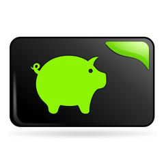 cochon sur bouton web rectangle vert