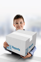 Boy holding a cardboard box on which was written Reports