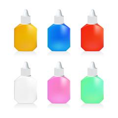 Illustration of mix color drop bottle on white background