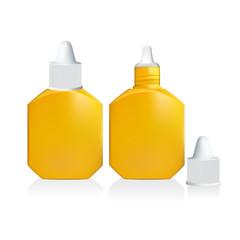 Illustration of yellow drop bottle isolated on white background