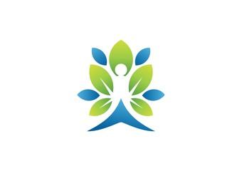 tree spa leaf people logo nature wellness health fitness