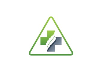 medicine pharmacy logo,health,cross plants,plus triangle