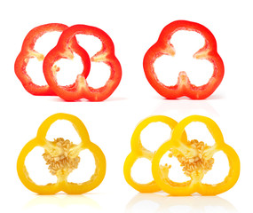 pepper slices on white background