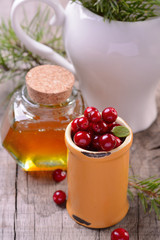 ingredients for cranberry drink with honey