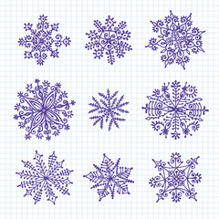 Hand drawn snowflakes.