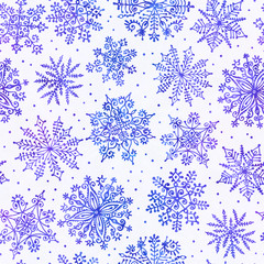 Watercolor snowflakes seamless pattern.