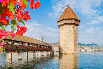Old bridge Kapellbrucke in Lucerne, Switzerland