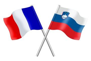 Drapeaux: France et Slovénie