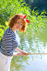 Beautiful pin-up girl sailorly style