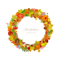 Wreath of autumn leaves for you design