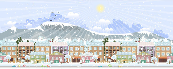 panorama. winter city life