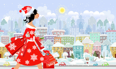 fashion girl santa with purchase in a city. seamless panorama