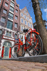 Amsterdam city with bike against houses in  Holland
