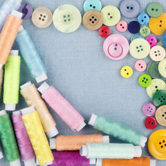 Multicolored buttons and spools of thread1