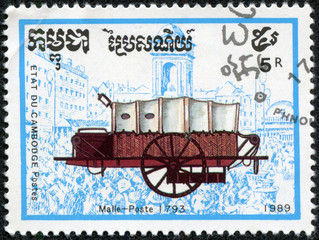 stamp printed in Cambodia shows Mail coach, 1793