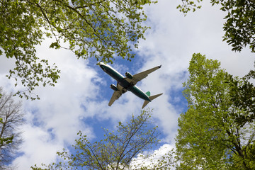 "Airplane landing at Pisa ""Galileo Galilei"" International Airport"