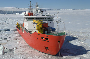 Icebreaker ship in the sea of Antarctic