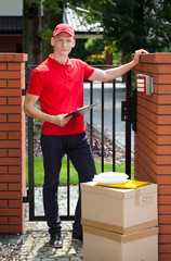 Delivery guy waiting for customer